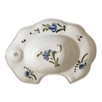 19th C. Antique Barber's Faience Shaving Bowl French