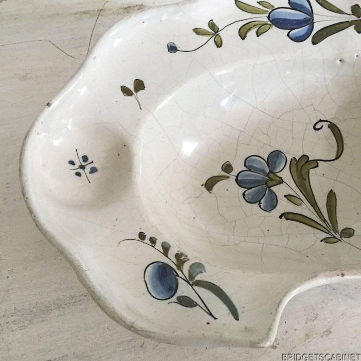 19th C Antique Barbers Faience Shaving Bowl French Bridgets