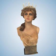 1920 French Wax Child Bust Head Mannequin Doll Shop Display Art Deco