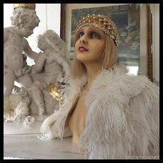 1910 RARE FULL WAX BUST BLOND IMPLANTED HAIR DISPLAY MANNEQUIN