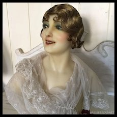 Antique French Wax Bust Head Display Mannequin Doll Flapper