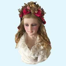 1900's French Wax Bust Mannequin Doll Display Wax Head