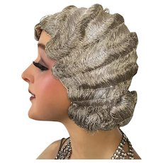 1920 Very Rare Flapper Silver Bullion Thread Hair Cloche Wig Museum Piece