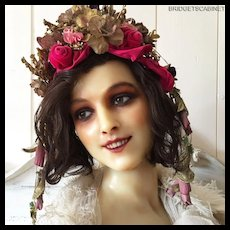 1900's P.Imans French Wax Bust Mannequin Doll Display Wax Head