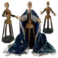 Early 1700's Rare Madonna Santos Cage Doll Virgin Mannequin Religious Spanish