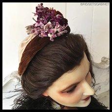 19th. Century Rare FrenchMillinery Flowers Velvet Hat Bonnet