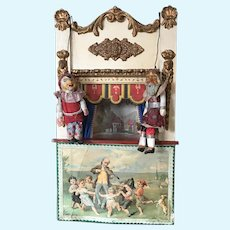 1890's Very Rare Doll Size French Guignol Puppet Theater with 2 original Puppets