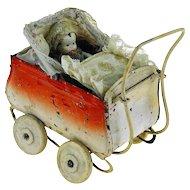 Antique late 19th C. German Pram Miniature Pressed Tin Toy