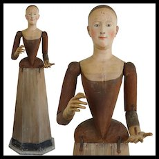 1700's Very Rare Life-Size Madonna Santos Cage Doll Virgin Mannequin Religious