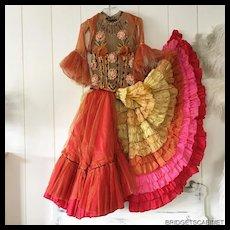 Vintage Original Stage Show Costume CanCan Dress Folie Bergerès Paris