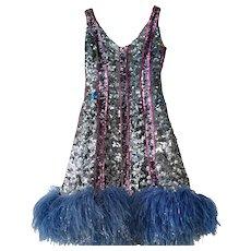 Original 1930's Stage Flapper Sequin Dress Folie Bergerès Paris