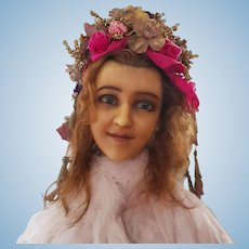 1900's French Wax Bust Mannequin Head Doll Shop Display Hat Jewelry
