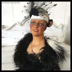 1920's Belgian Wax Bust Mannequin Head Doll Shop Display Hat Jewelry