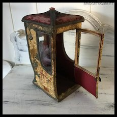 19TH. Century Large French Pagode Sedan Chair Doll Boudoir Vitrine