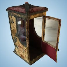 19TH. Century Large French Pagode Sedan Chair Doll Boudoir Vitrine