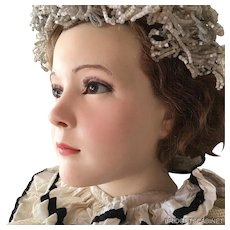 1920's French Wax Girl Mannequin Head Bust Doll Flapper Display