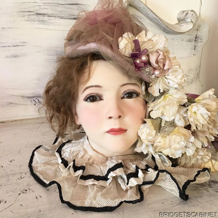 17819b49d44 1920 s French Wax Girl Mannequin Head Bust Doll Flapper Display ...