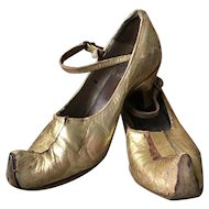 Original 1920's Gold Leather Theater Stage Mata Hari Shoes Oriental Gatsby