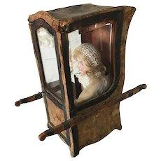 19th. Century Large French Sedan Chair Doll Boudoir Vitrine Jumeau