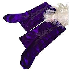 Original Vintage Violet Embroidered Stockings Theater Show Cabaret