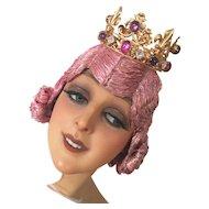 Vintage Theater Stage Crown Headdress Headpiece Jewelry Gemstone Cabaret
