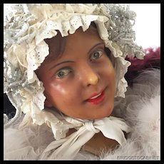1910's French Wax Girl Mannequin Head Bust Doll Display Signed