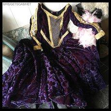 Vintage Violet Velvet Theater Stage Gown Opera Dress Show Girl Mannequin