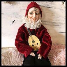 1920's Smoker Music Box Boudoir Doll Pierette Pierrot Clown Harlequin