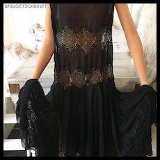 Original 1920's Flapper Black Gown Dress Lace Mannequin Gatsby