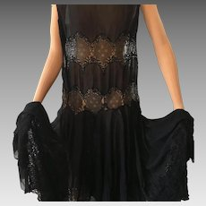 Original 1920's Flapper Black Gown Dress Lace Mannequin Gatsby