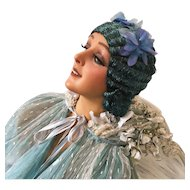 1920's Sea Blue Flowered Flapper Fine Raffia Great Gatsby Wig