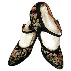 1920's Flapper Shoes Gatsby Embroidered Flowers Dance