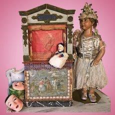 19th. Century Guignol Puppet Theater Commedia Dell'Arte Doll Toys
