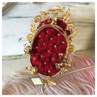 19th. Century French Boudoir Wedding Cushion Display Red