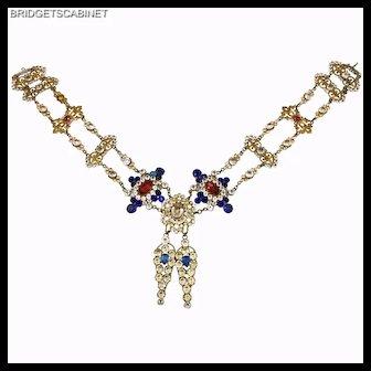 """Late 19th. Century """"Mata Hari"""" Belt Rhinestones Stage Costume Show Jewelry"""