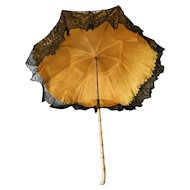 Antique late 19th Century French Doll Umbrella Parasol Child Lace Silk