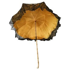 Antique late 19th Century French Doll Umbrella Parasol Child Lace Silk