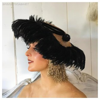 Antique Feathered French Folies Hat Theater Show Costume