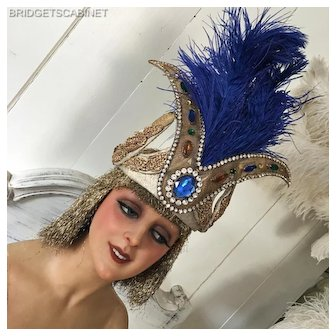 Antique Feathered French Folies Headdress Theater Show Costume