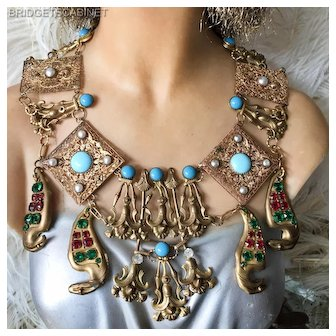 Vintage 1930's Cleopatra Egyptian Revival Necklace Folies Bergeres Costume
