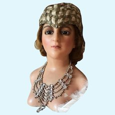 1900's French Wax Head Mannequin Boudoir Doll Bust rare girl