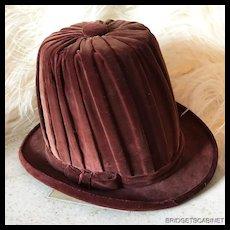 Very Rare Velvet Theater Hat Costume Stage Show Mannequin Burlesque
