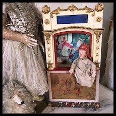 19th. Century Small Sized French Guignol Puppet Theater Commedia Dell'arte