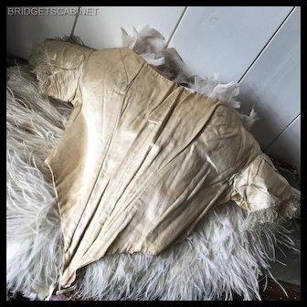 19th. C. Victorian Cream Colored Silk Costume Dress Boudoir Bodice Mannequin