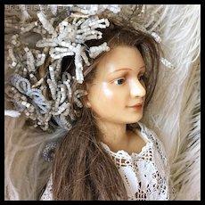 1900's Rare Wax Mannequin Doll Dress Form Countertop Salesman Display
