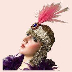 1920's Stage Flapper Head band Headdress Rhinestone Tiara Mannequin
