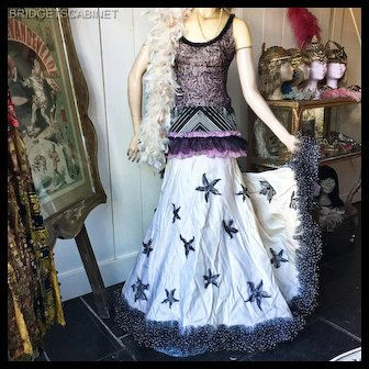 Vintage Folies Bergeres Couture Gown Dress Costume Theater Cabaret
