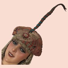 Antique Rare French Turban Hat Paul Poiret Styled 1001 Nights Costume Theater