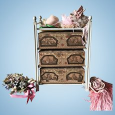 19th. Century French Doll Drawer Case Cabinet Table Silk