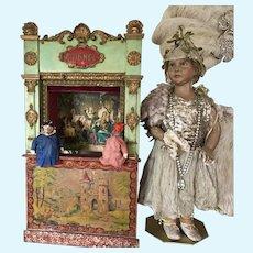 19th. Century French Guignol 2 Puppets Theater Commedia Dell'arte